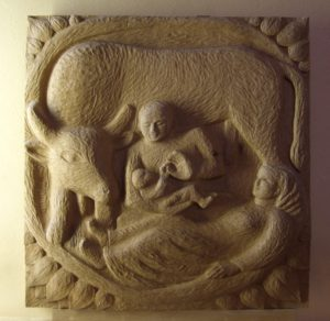 Nativity with a bull-oakwood-bas-relief carving-St Helens Church-Caerphilly-Wales